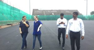 Gabrielle-van-Zwieten-from-FIH-in-discussion-with-Hockey-India-officials-including-Elena-Norman-CEO-Hockey-India-768x576
