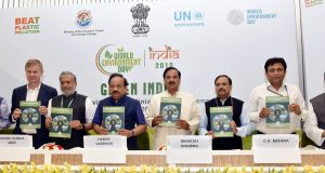 The Union Minister for Science & Technology, Earth Sciences and Environment, Forest & Climate Change, Dr. Harsh Vardhan releasing the State of Environment Report, at the State Environment Ministers' Conference, as the part of the World Environment Day celebrations, in New Delhi on June 04, 2018. 	The Minister of State for Culture (I/C) and Environment, Forest & Climate Change, Dr. Mahesh Sharma, the Deputy Chief Minister of Bihar, Shri Sushil Kumar Modi, the Secretary, Ministry of Environment, Forest and Climate Change, Shri C.K. Mishra and other dignitaries are also seen.
