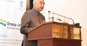 The President, Shri Ram Nath Kovind addressing at the India-Greek Business Forum Meeting, at Athens, in Greece on June 19, 2018.