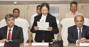 Smt. Justice Manjula Chellur swearing in as the Chairperson, Appellate Tribunal for Electricity, in New Delhi on August 13, 2018.
