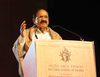 The Vice President, Shri M. Venkaiah Naidu addressing the gathering after inaugurating the 8th Theatre Olympics and releasing logo: 'Flag of Friendship', in Delhi on February 17, 2018.