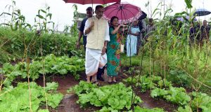 The Union Minister for Agriculture and Farmers Welfare, Shri Radha Mohan Singh visiting the organic farm, at Lawsohtun, Shillong, in Meghalaya on July 29, 2018.