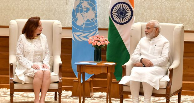 The UN General Assembly President Elect, Ms. Maria Fernanda Espinosa Garces calling on the Prime Minister, Shri Narendra Modi, in New Delhi on August 10, 2018.