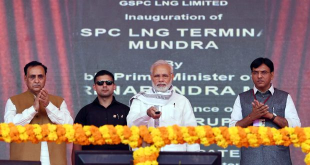 The Prime Minister, Shri Narendra Modi inaugurating the Mundra LNG Terminal & Anjar – Mundra Gas Transmission Project, in Anjar, Gujarat on September 29, 2018. The Chief Minister of Gujarat, Shri Vijay Rupani and the Minister of State for Road Transport & Highways, Shipping and Chemicals & Fertilizers, Shri Mansukh L. Mandaviya are also seen.