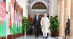 The Prime Minister, Shri Narendra Modi and the President of Afghanistan, Dr. Mohammad Ashraf Ghani, at Hyderabad House, in New Delhi on September 19, 2018.