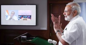 The Prime Minister, Shri Narendra Modi interacting with the ASHA, Anganwadi and ANM workers from all over the country through video conference, in New Delhi on September 11, 2018.