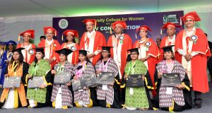 The Vice President, Shri M. Venkaiah Naidu with the Gold Medal winners, at the XIV Convocation of University College for Women, Osmania University, in Hyderabad on October 04, 2018.  The Deputy Chief Minister of Telangana, Shri Mohammed Mahmood Ali and other dignitaries are also seen.