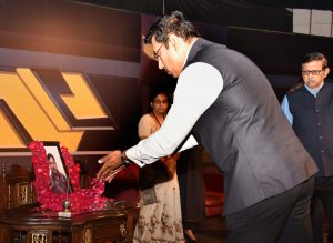 The Minister of State for Youth Affairs & Sports and Information & Broadcasting (I/C), Col. Rajyavardhan Singh Rathore paying tributes to the martyred Cameraperson of DD News Shri Achyutanand Sahu, at a condolence meeting, in New Delhi on November 01, 2018. The Chairman, Prasar Bharati, Dr. A. Surya Prakash is also seen.
