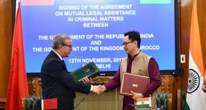 The Minister of State for Home Affairs, Shri Kiren Rijiju and the Minister of Justice, Government of the Kingdom of Morocco, Mr. Mohamed Aujjar exchanging the documents after signing an Agreement on Mutual Legal Assistance in Criminal Matters between the two countries, in New Delhi on November 12, 2018.