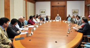The Prime Minister, Shri Narendra Modi interacting with the members of his Science, Technology and Innovation Advisory Council (PM-STIAC), in New Delhi on November 13, 2018.