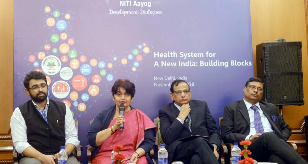 "The Member NITI Aayog, Dr. V.K. Paul, the Secretary, Ministry of Health & Family Welfare, Smt. Preeti Sudan and the Adviser, NITI Aayog, Shri Alok Kumar at a press conference on ""Health System for A New India: Building Blocks"", in New Delhi on November 30, 2018."