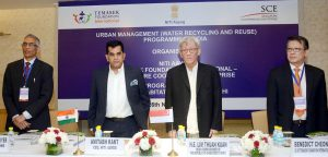 The CEO, NITI Aayog, Shri Amitabh Kant, the Secretary, Ministry of Drinking Water and Sanitation, Shri Parameswaran Iyer and the High Commissioner of Singapore to India, Mr. Lim Thuan Kuan at the Capacity Building Programme for Urban Water Management, organised by the NITI Aayog, in New Delhi on November 26, 2018.
