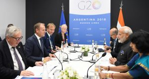 The Prime Minister, Shri Narendra Modi meeting the President of European Commission, Mr. Jean-Claude Juncker and the President of European Council, Mr. Donald Tusk, at the G20 Summit, in Buenos Aires, Argentina on December 01, 2018.