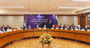 The Speaker, Lok Sabha, Smt. Sumitra Mahajan and the Chairman of the State Duma, Russian Federation, Mr. Vyacheslav Volodin at the Fifth Session of India - Russian Inter Parliamentary Commission, in New Delhi on December 10, 2018.