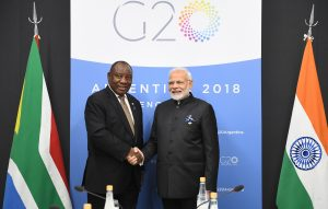 The Prime Minister, Shri Narendra Modi meeting the President of South Africa, Mr. Cyril Ramaphosa, on the sidelines of the G20 Summit, in Buenos Aires, Argentina on December 01, 2018.
