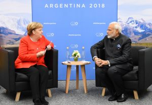 The Prime Minister, Shri Narendra Modi meeting the German Chancellor, Dr. Angela Merkel, on the sidelines of the G20 Summit, in Buenos Aires, Argentina on December 01, 2018.