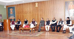 The Vice President and the Chairman, Rajya Sabha, Shri M. Venkaiah Naidu interacting with the Floor Leaders of various political parties in Rajya Sabha, in New Delhi on December 10, 2018.