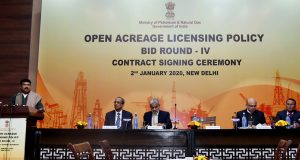 The Union Minister for Petroleum & Natural Gas and Steel, Shri Dharmendra Pradhan addressing at the contracts signing ceremony of OALP Bid Round-IV, in New Delhi on January 02, 2020.  The Secretary, Ministry of Petroleum & Natural Gas, Dr. M.M. Kutty and other dignitaries are also seen.