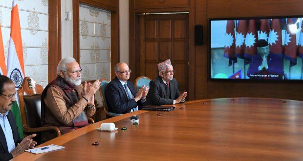 The Prime Minister, Shri Narendra Modi and the Prime Minister of Nepal, Shri K.P. Sharma Oli jointly inaugurate the Integrated Check Post, at Jogbani-Biratnagar through video conference, in New Delhi on January 21, 2020.