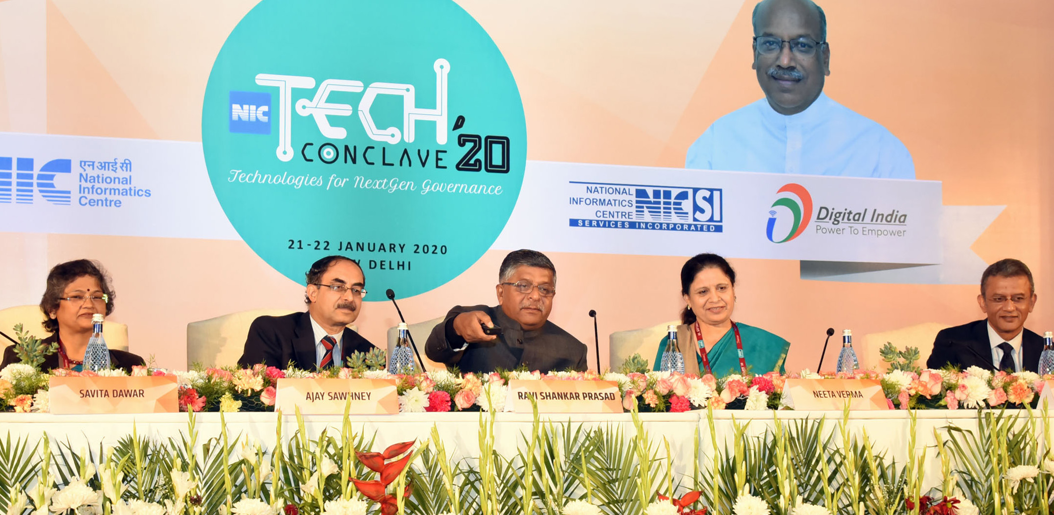 The Union Minister for Law & Justice, Communications and Electronics & Information Technology, Shri Ravi Shankar Prasad at the inauguration of the 'NIC Tech Conclave 2020' with the theme - Technologies for NextGen Governance, in New Delhi on January 21, 2020. 	The Secretary, Ministry of Electronics & Information Technology, Shri Ajay Prakash Sawhney and other dignitaries are also seen.