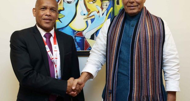 The Union Minister for Defence, Shri Rajnath Singh meeting the Defence Minister of Madagascar, Lt. Gen. Rokotonirina Richard, on the sidelines of the DefExpo2020, in Lucknow on February 06, 2020.