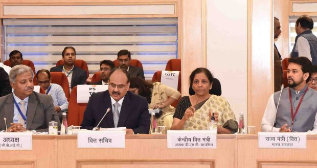 The Union Minister for Finance and Corporate Affairs, Smt. Nirmala Sitharaman chairing the 39th GST Council meeting, in New Delhi on March 14, 2020. The Minister of State for Finance and Corporate Affairs, Shri Anurag Singh Thakur is also seen.