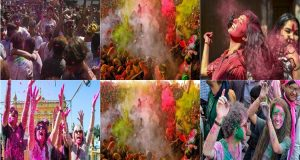 Kathmandu: Nepalese people throw colors on each other and dance as they celebrate Holi festival in Kathmandu, Nepal, Monday, March 9, 2020. Coronavirus fears forced many Nepalese to stay away from the festivities that marks the advent of spring. AP/PTI(AP09-03-2020_000082B)