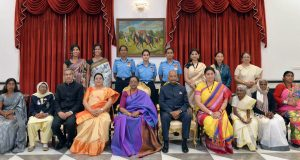The President, Shri Ram Nath Kovind with the recipients of the Nari Shakti Puruskar for the year 2019, on the occasion of the International Women's Day, at Rashtrapati Bhavan, in New Delhi on March 08, 2020. 	The Union Minister for Women & Child Development and Textiles, Smt. Smriti Irani, the Minister of State for Women and Child Development, Sushri Debasree Chaudhuri and other dignitaries are also seen.
