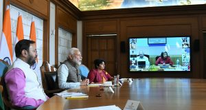 The Prime Minister, Shri Narendra Modi interacting with the Print Media Journalists on tackling the challenge of COVID-2019 through video conference, in New Delhi on March 24, 2020.