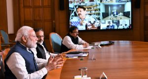 The Prime Minister, Shri Narendra Modi interacting with the industry representatives via video conference in India's fight against COVID-19, in New Delhi on March 23, 2020.
