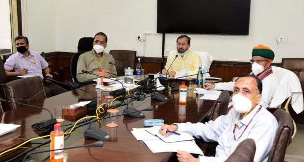 The Union Minister for Environment, Forest & Climate Change, Information & Broadcasting and Heavy Industries and Public Enterprise, Shri Prakash Javadekar holding a meeting with the captains of automotive industry to discuss various issues relating to the sectors in the wake of COVID-19 through video conferencing, in New Delhi on April 30, 2020. The Minister of State for Parliamentary Affairs and Heavy Industries & Public Enterprises, Shri Arjun Ram Meghwal and the Secretary (Heavy Industries), Shri Arun Goel are also seen.