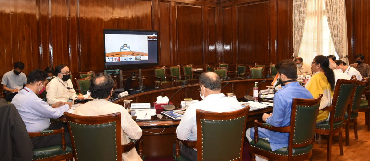 The Union Minister for Finance and Corporate Affairs, Smt. Nirmala Sitharaman chaired the 22nd Meeting of the Financial Stability and Development Council (FSDC) through video conference, in New Delhi on May 28, 2020. The Minister of State for Finance and Corporate Affairs, Shri Anurag Singh Thakur and other dignitaries are also seen.