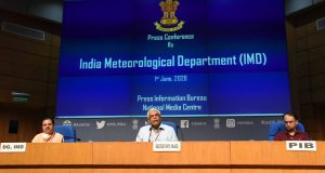 The Secretary, Ministry of Earth Sciences, Dr. M. Rajeevan and the Director General of Meteorology, India Meteorological Department (IMD), Dr. Mrutyunjay Mohapatra holding a press conference on the second stage of Monsoon Forecast, in New Delhi on June 01, 2020.