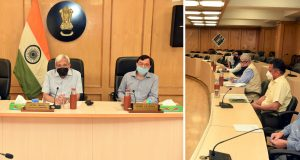 The Chief Election Commissioner, Shri Sunil Arora chairing a meeting of the Election Commission of India (ECI), in New Delhi on June 01, 2020.  The Election Commissioners, Shri Ashok Lavasa and Shri Sushil Chandra and senior officers of the Commission are also seen.