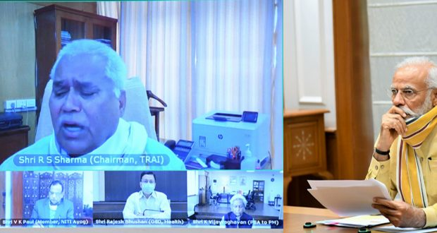 The Prime Minister, Shri Narendra Modi chairing the high-level meeting to review the planning and preparations for vaccination against Covid-19, through video conferencing, in New Delhi on June 30, 2020.