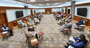 The Prime Minister, Shri Narendra Modi chairing the Cabinet meeting, in New Delhi on June 01, 2020.
