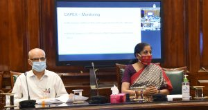 The Union Minister for Finance and Corporate Affairs, Smt. Nirmala Sitharaman holding a meeting with the Secretaries and CMDs of 23 CPSEs to review capital expenditure in this financial year through video-conferencing, in New Delhi on July 07, 2020.