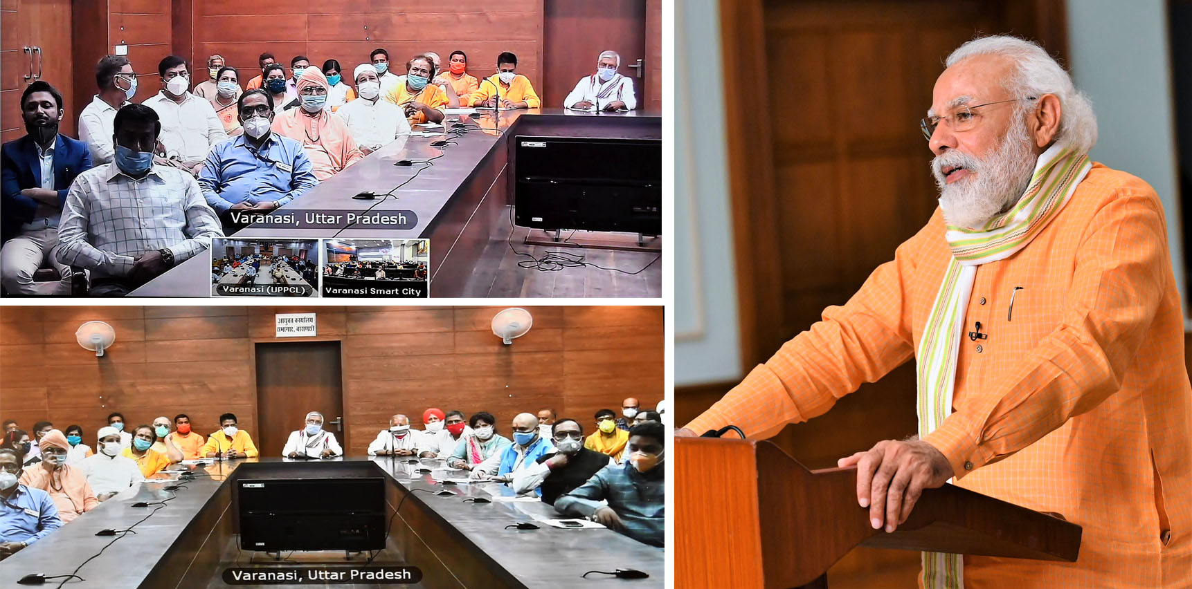 The Prime Minister, Shri Narendra Modi interacts with representatives from Varanasi based NGOs via video conference, in New Delhi on July 09, 2020.
