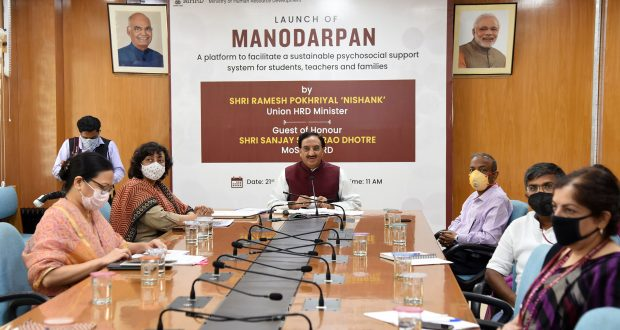 The Union Minister for Human Resource Development, Dr. Ramesh Pokhriyal 'Nishank' addressing at the launch of the MANODARPAN initiative of Ministry of HRD to provide psychosocial support to students for their Mental Health and Well-being, through video conference, in New Delhi on July 21, 2020. The Secretary, Department of Higher Education, Shri Amit Khare and the Secretary, School Education and Literacy, Smt Anita Karwal are also seen.