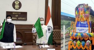 The Union Minister for External Affairs, Dr. Subrahmanyam Jaishankar and the Union Minister for Railways and Commerce & Industry, Shri Piyush Goyal virtually handing over 10 Broad Gauge Locomotives to Bangladesh, at a ceremony, in New Delhi on July 27, 2020.