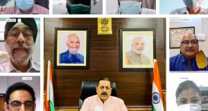 The Minister of State for Development of North Eastern Region (I/C), Prime Minister's Office, Personnel, Public Grievances & Pensions, Atomic Energy and Space, Dr. Jitendra Singh interacting with the North Eastern Regional Agricultural Marketing Corporation Limited (NERAMAC) officials and Groups of Farmers, through video conferencing, in New Delhi on August 26, 2020.