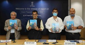 The Vice-Chairman NITI Aayog, Dr. Rajiv Kumar releasing the report on Export Preparedness Index (EPI) 2020, in New Delhi on August 26, 2020. The CEO, NITI Aayog, Shri Amitabh Kant and other dignitaries are also seen.