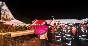 Kozhikode: Rescue operation underway after an Air India Express flight with passengers on board en route from Dubai skidded off the runway while landing, at Karippur in Kozhikode, Friday, Aug. 7, 2020. (PTI Photo)(PTI08-08-2020_000004B)