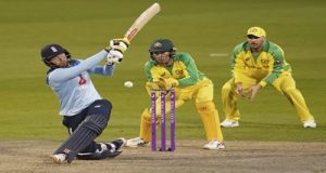 Manchester:England's Jonny Bairstow, left, plays a shot during the first ODI cricket match between England and Australia, at Old Trafford in Manchester, England, Friday, Sept. 11, 2020. AP/PTI Photo(AP12-09-2020_000004B)