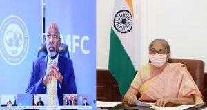 The Union Minister for Finance and Corporate Affairs, Smt. Nirmala Sitharaman addressing the Plenary Meeting of the International Monetary and Financial Committee, through video conferencing, in New Delhi on October 15, 2020.