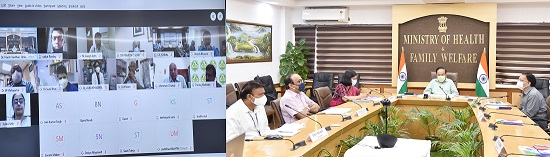 """The Union Minister for Health & Family Welfare, Science & Technology and Earth Sciences, Dr. Harsh Vardhan virtually launches the 2nd phase of """"Thalassemia Bal Sewa Yojna"""" for underprivileged Thalassemic patients from Nirman Bhawan, in New Delhi on October 14, 2020. The Secretary, Ministry of Health & Family Welfare, Shri Rajesh Bhushan and other dignitaries are also seen."""