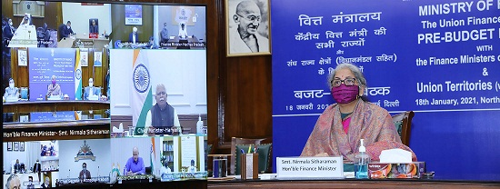 The Union Minister for Finance and Corporate Affairs, Smt. Nirmala Sitharaman chairing the Pre-Budget consultations with the Finance Ministers of all States and Union Territories (with legislature), through video conferencing, in New Delhi on January 18, 2021.