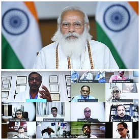 The Prime Minister, Shri Narendra Modi interacting with the Healthcare Professionals through video conferencing, in New Delhi on April 19, 2021.