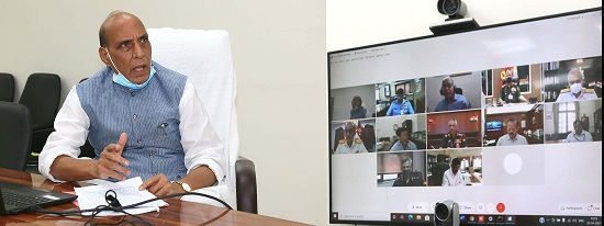The Union Minister for Defence, Shri Rajnath Singh virtually chairing a meeting to review the preparedness of the Ministry of Defence & Armed Forces amid spike in COVID-19 cases, in New Delhi on April 20, 2021.