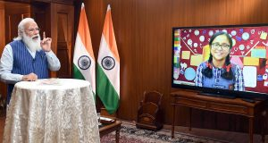 The Prime Minister, Shri Narendra Modi interacting with the students during the 'Pariksha Pe Charcha 2021', through video conference, in New Delhi on April 07, 2021.